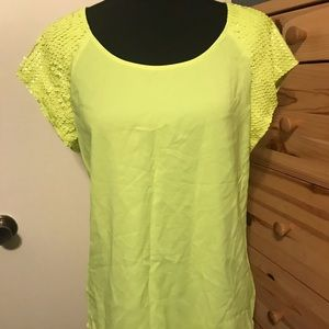 EXPRESS sequined sleeve neon blouse